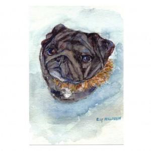 Elly Nillsson Pug Card